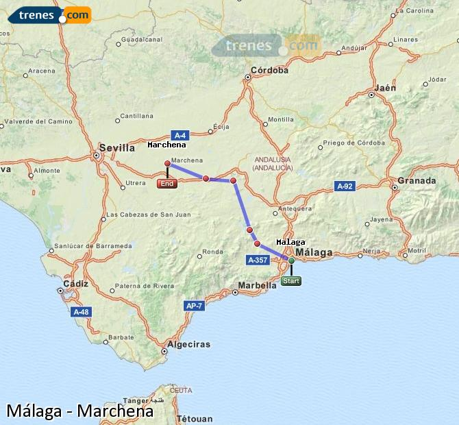 Enlarge map Trains Malaga to Marchena