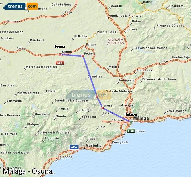 Agrandir la carte Trains Málaga Osuna