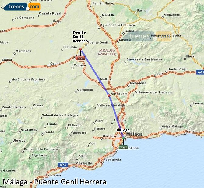 Enlarge map Trains Malaga to Bridge Genil Herrera
