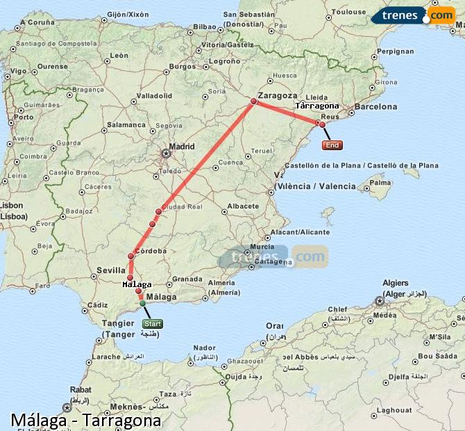 Enlarge map Trains Malaga to Tarragona