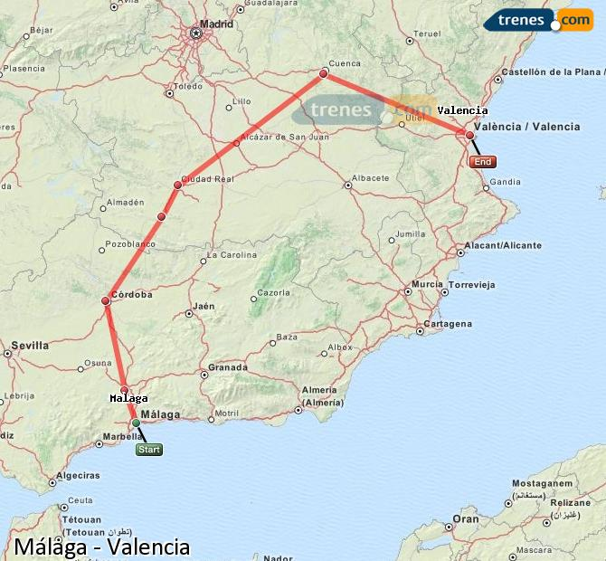 Enlarge map Trains Malaga to Valencia
