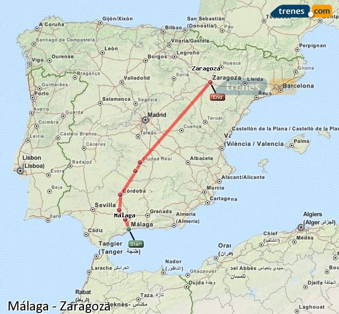 Enlarge map Trains Malaga to Zaragoza