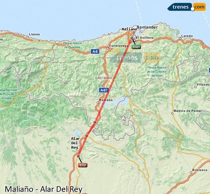 Ingrandisci la mappa Treni Maliaño Alar Del Rey