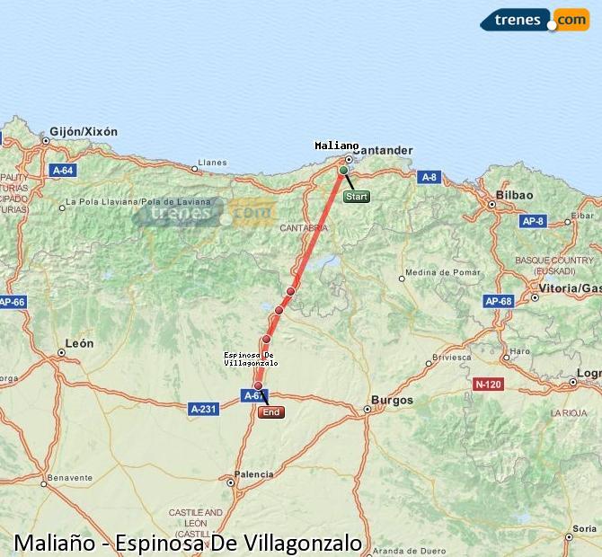 Agrandir la carte Trains Maliaño Espinosa De Villagonzalo
