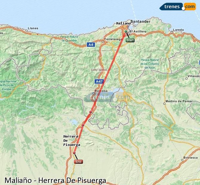 Enlarge map Trains Maliaño to Herrera De Pisuerga