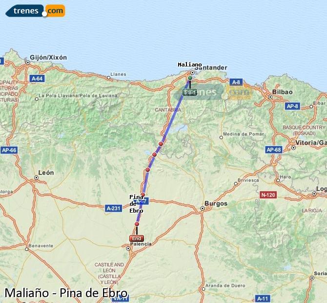 Ampliar mapa Trenes Maliaño Pina de Ebro