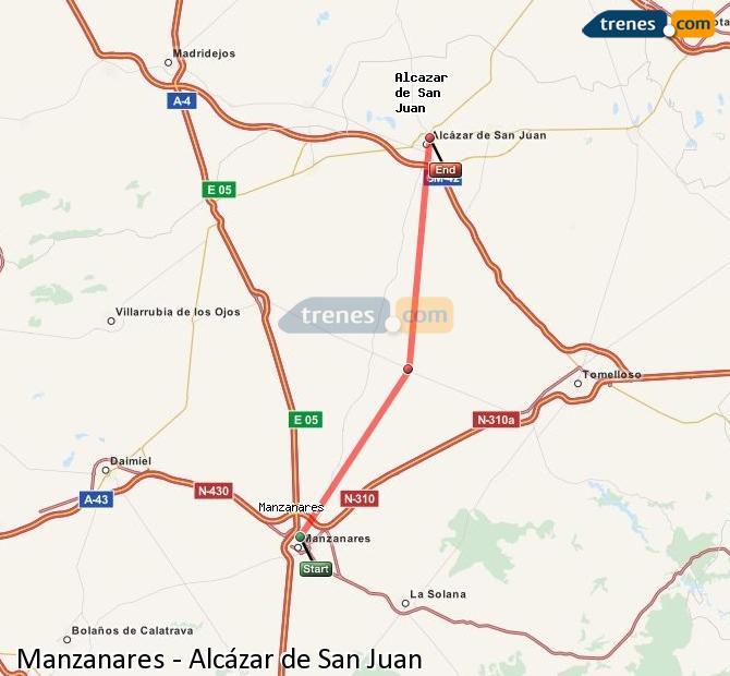 Ampliar mapa Comboios Manzanares Alcázar de San Juan