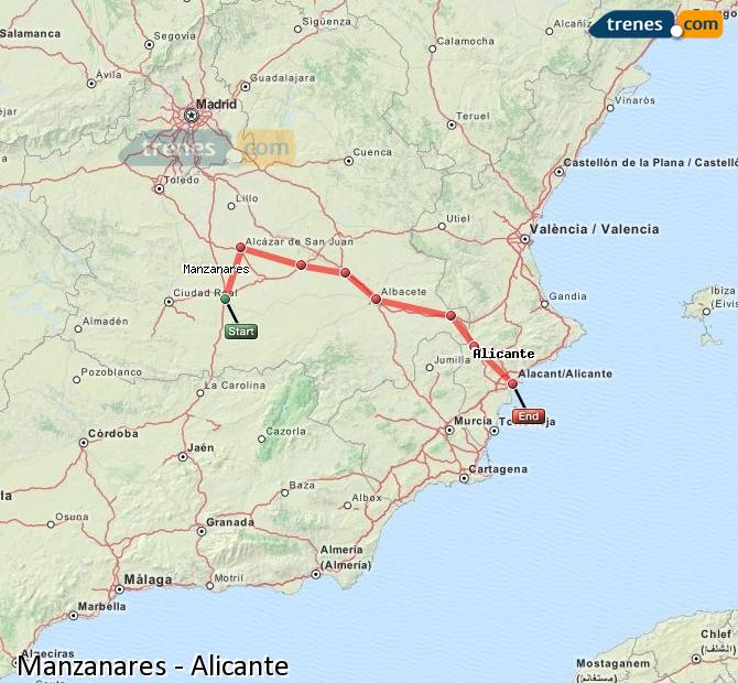 Ampliar mapa Comboios Manzanares Alicante