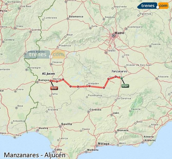 Ingrandisci la mappa Treni Manzanares Aljucén