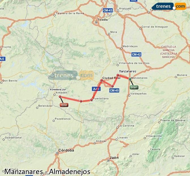 Ampliar mapa Trenes Manzanares Almadenejos