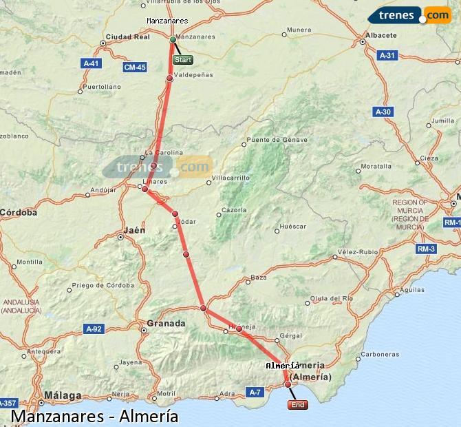 Ampliar mapa Comboios Manzanares Almería