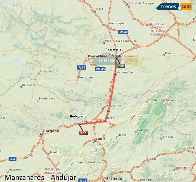 Ampliar mapa Comboios Manzanares Andújar