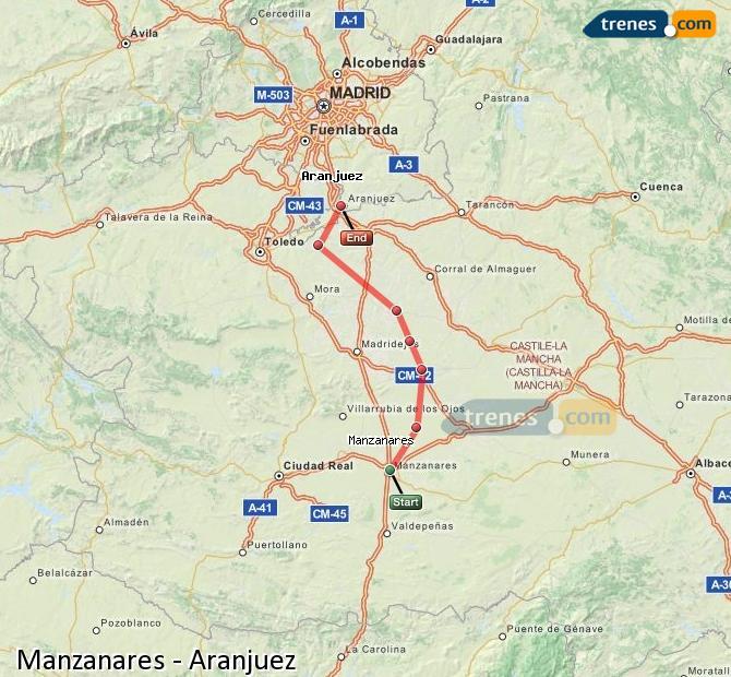 Agrandir la carte Trains Manzanares Aranjuez