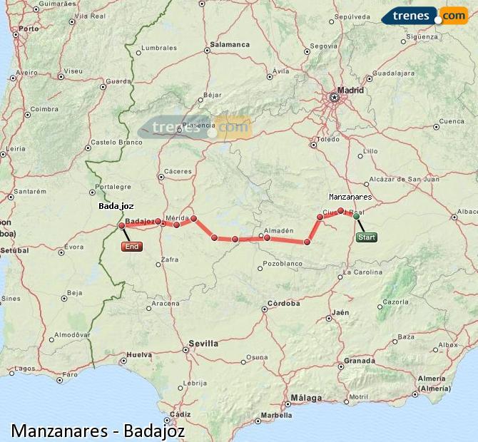 Ampliar mapa Comboios Manzanares Badajoz