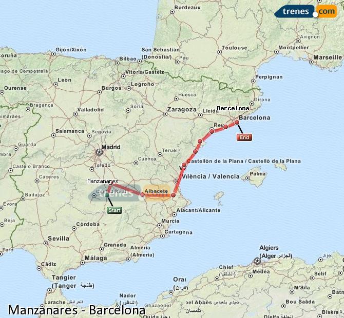 Ampliar mapa Comboios Manzanares Barcelona