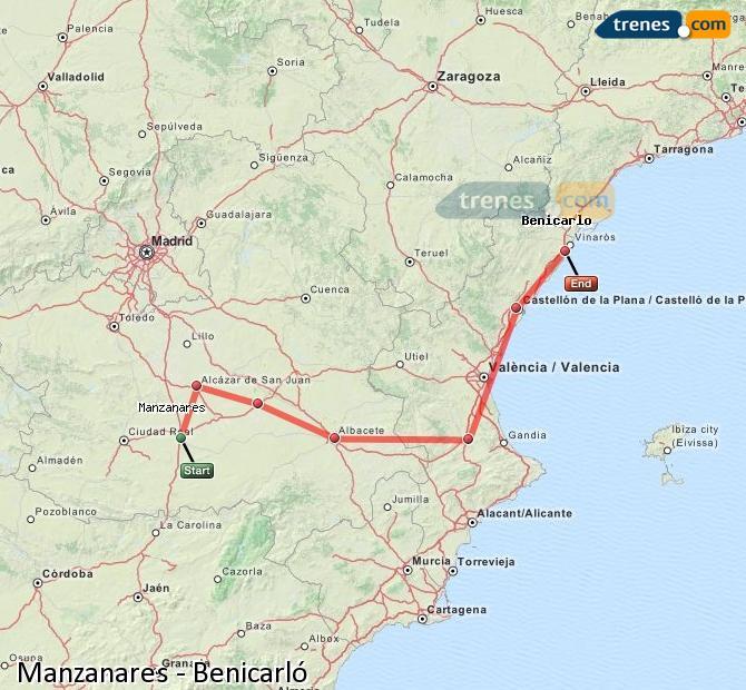 Ampliar mapa Comboios Manzanares Benicarló