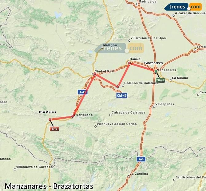 Enlarge map Trains Manzanares to Brazatortas
