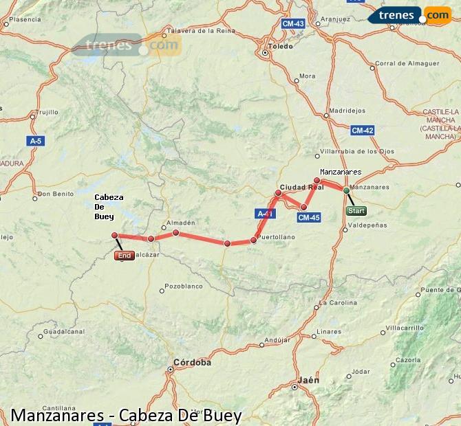 Ampliar mapa Comboios Manzanares Cabeza De Buey