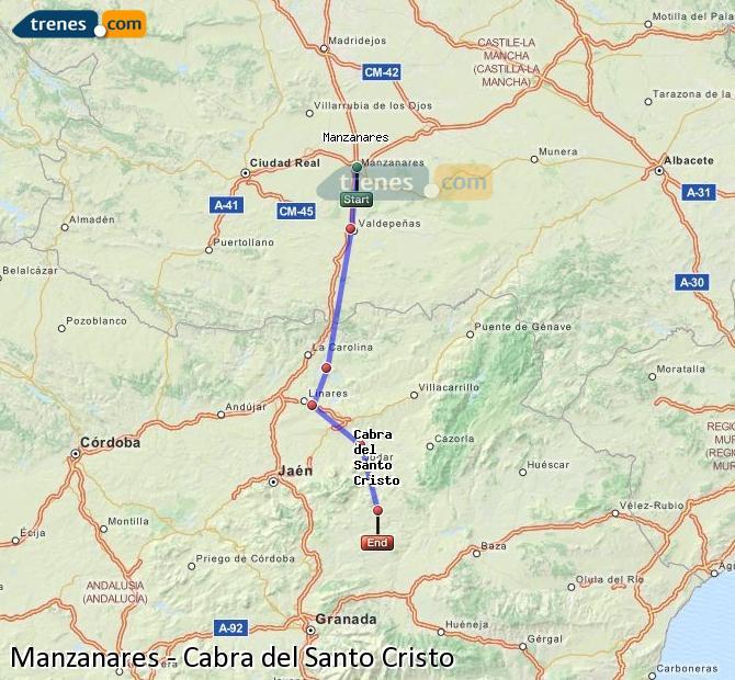 Ampliar mapa Comboios Manzanares Cabra del Santo Cristo