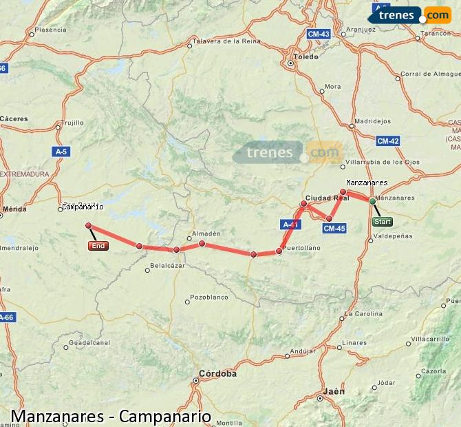 Enlarge map Trains Manzanares to Campanario