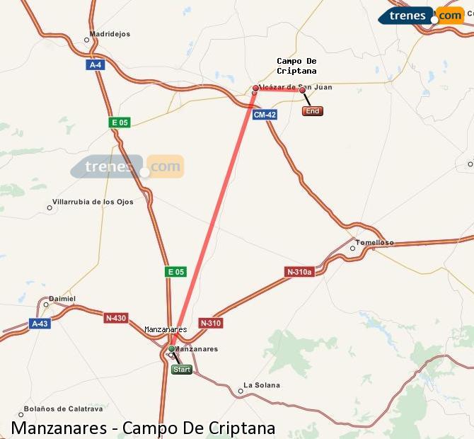 Ingrandisci la mappa Treni Manzanares Campo De Criptana
