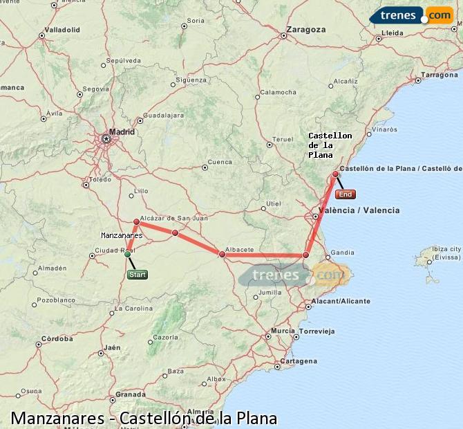 Ampliar mapa Comboios Manzanares Castellón