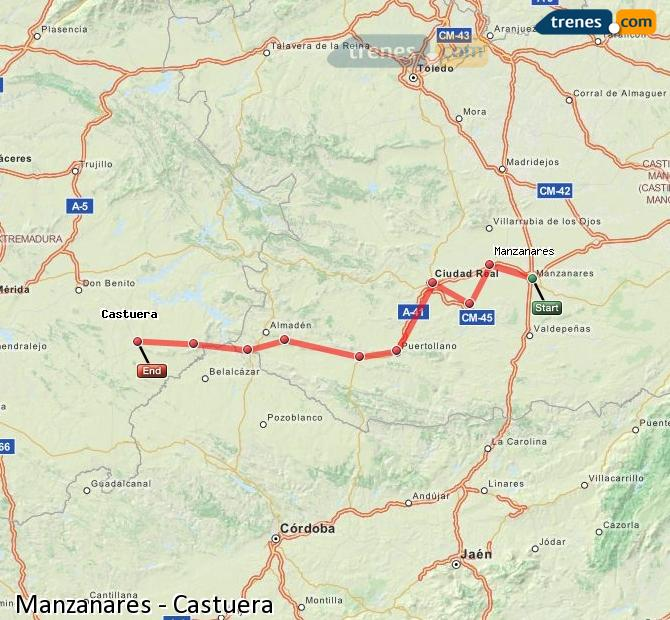 Ampliar mapa Comboios Manzanares Castuera