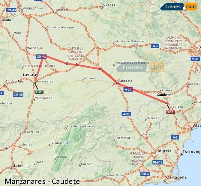 Ingrandisci la mappa Treni Manzanares Caudete