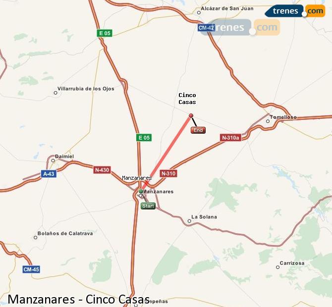 Karte vergrößern Züge Manzanares Cinco Casas