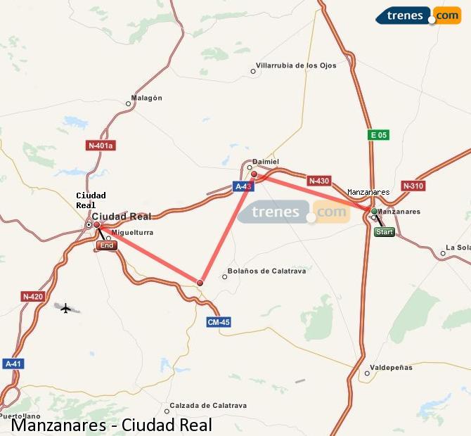 Ingrandisci la mappa Treni Manzanares Ciudad Real