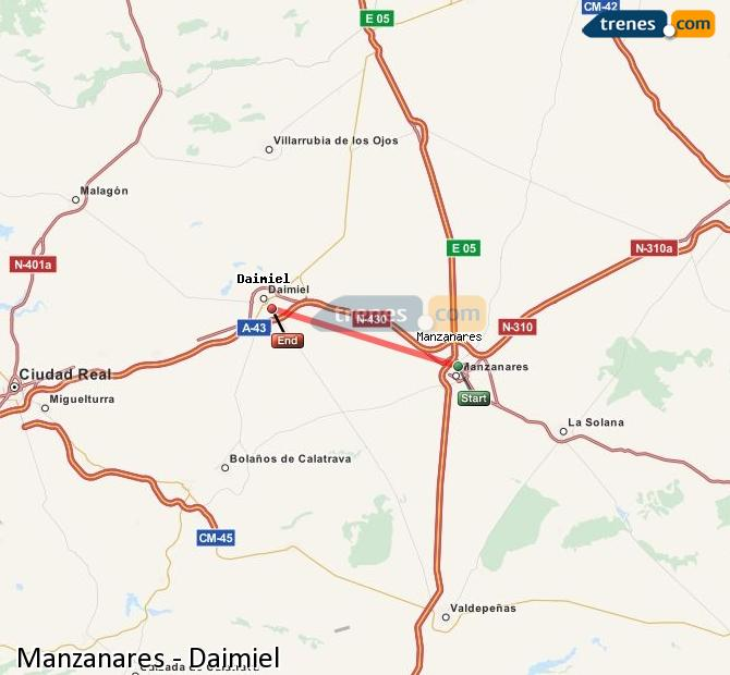 Enlarge map Trains Manzanares to Daimiel