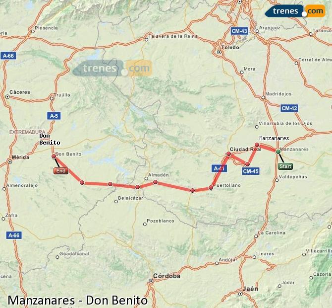 Ampliar mapa Comboios Manzanares Don Benito