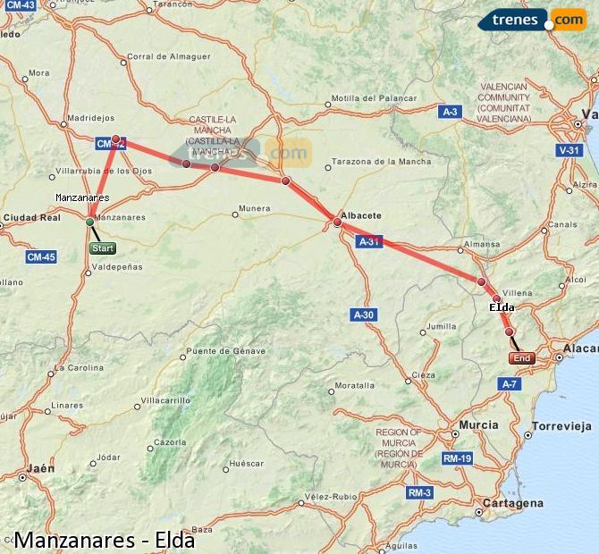 Agrandir la carte Trains Manzanares Elda