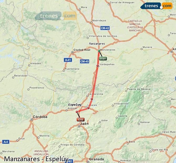 Ampliar mapa Comboios Manzanares Espelúy