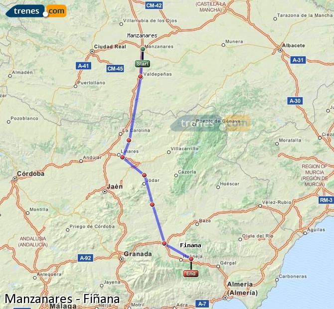 Ampliar mapa Comboios Manzanares Fiñana