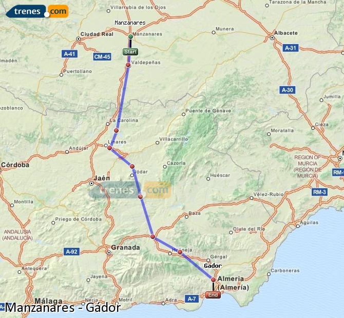Ampliar mapa Comboios Manzanares Gádor