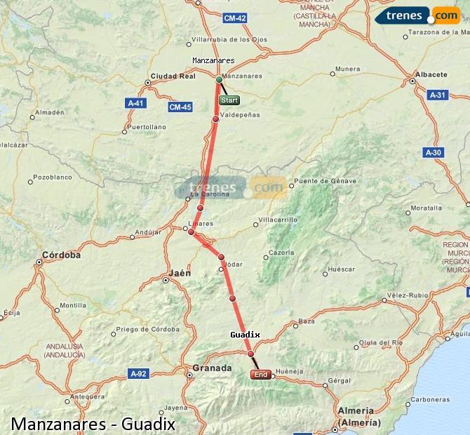 Ingrandisci la mappa Treni Manzanares Guadix