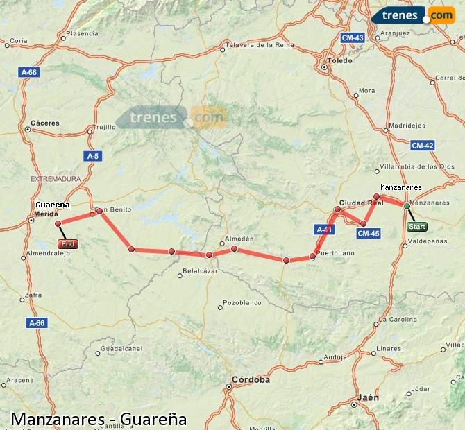 Karte vergrößern Züge Manzanares Guareña