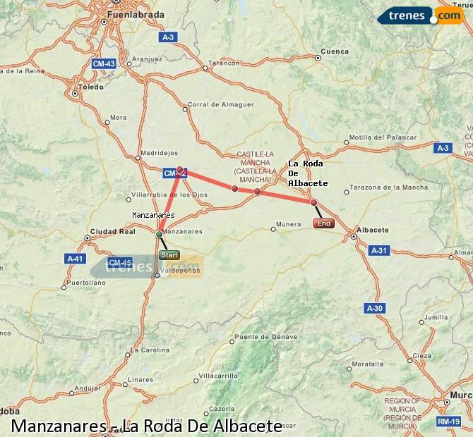 Ampliar mapa Comboios Manzanares La Roda De Albacete