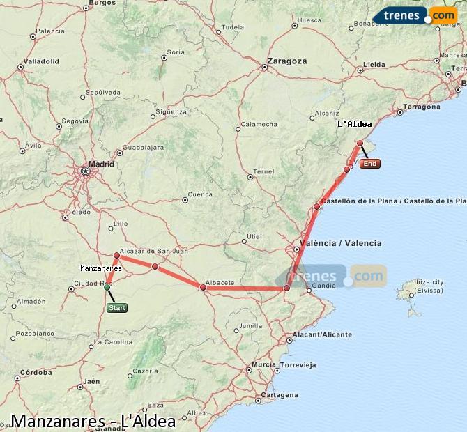 Ampliar mapa Comboios Manzanares L'Aldea