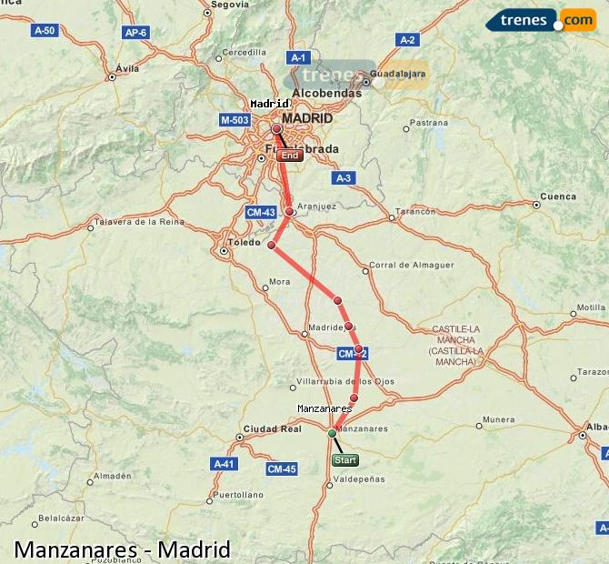Ingrandisci la mappa Treni Manzanares Madrid