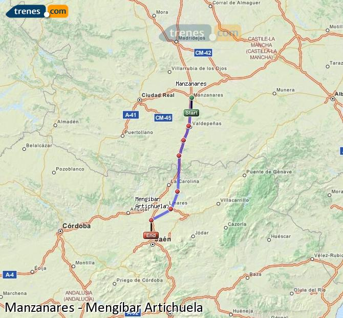 Enlarge map Trains Manzanares to Mengíbar Artichuela