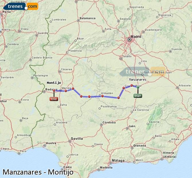 Ampliar mapa Comboios Manzanares Montijo