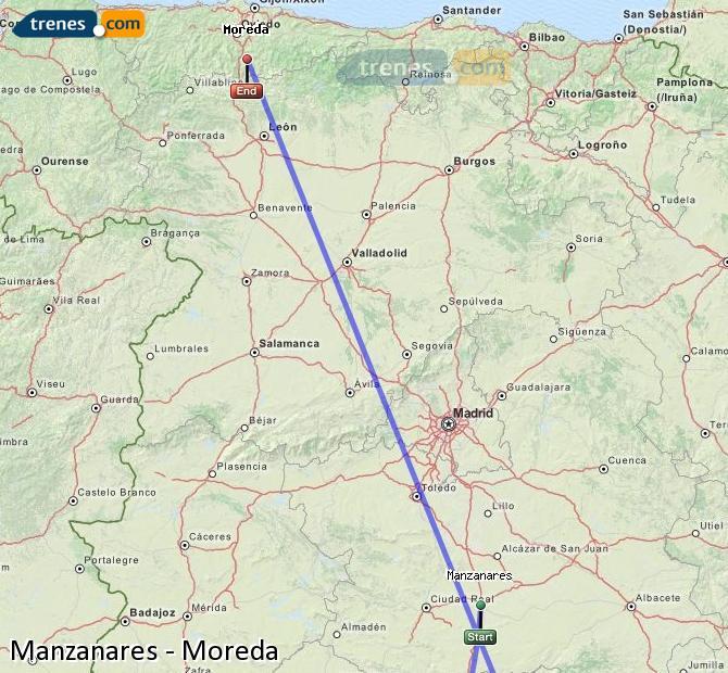 Ingrandisci la mappa Treni Manzanares Moreda