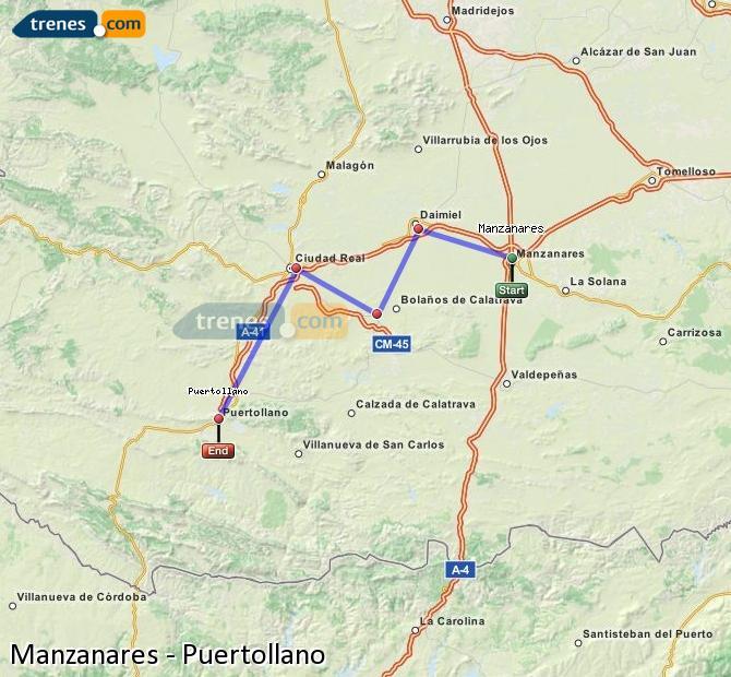 Ampliar mapa Comboios Manzanares Puertollano