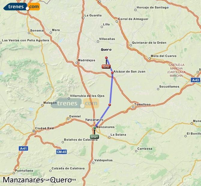 Ampliar mapa Comboios Manzanares Quero