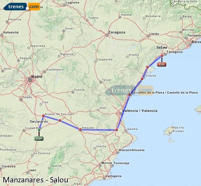 Ampliar mapa Comboios Manzanares Salou