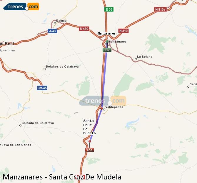 Ampliar mapa Comboios Manzanares Santa Cruz De Mudela