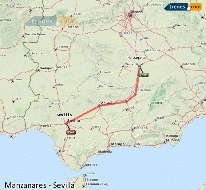 Karte vergrößern Züge Manzanares Sevilla