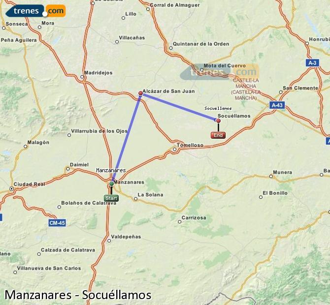 Ampliar mapa Comboios Manzanares Socuéllamos